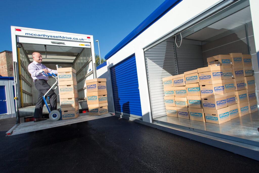 unloading storage boxes