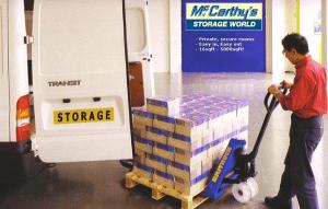 man with pallet storage