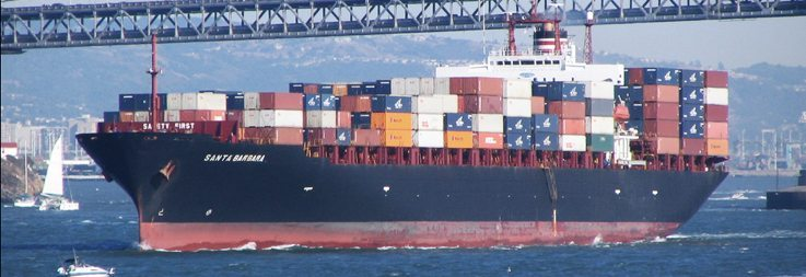 Container ship moving international cargo
