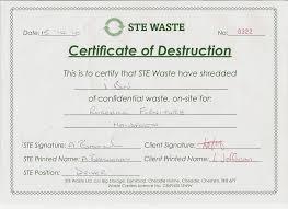 Shredding Certificate of Destruction