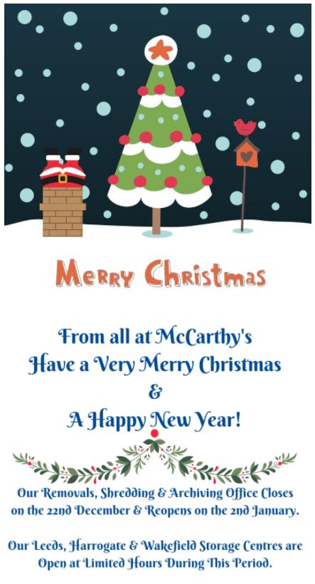 Full McCarthy's Removals Xmas Card
